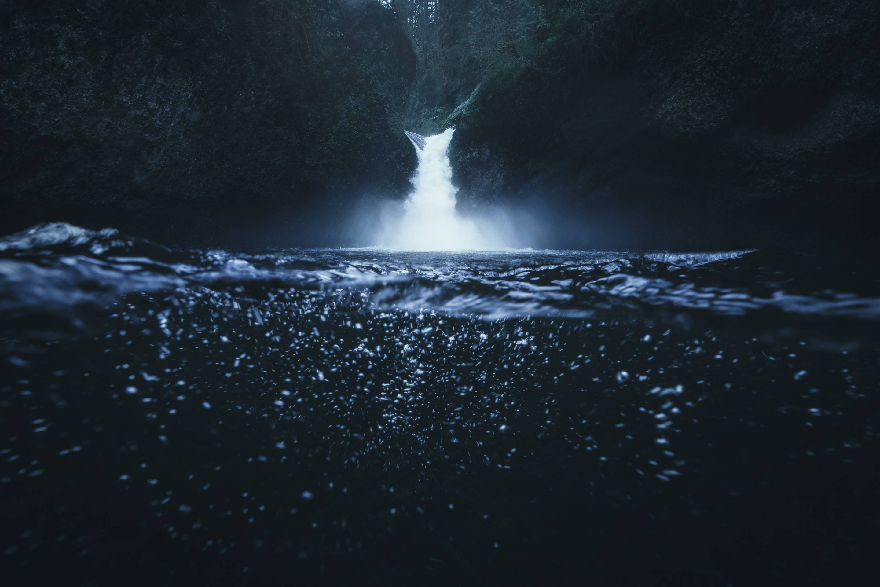 Underwater photography of Punchbowl waterfall in the Columbia River Gorge, Oregon
