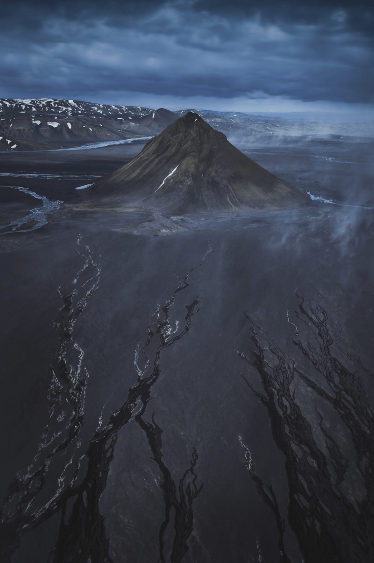 Aerial photography of the highlands in Iceland