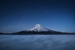 Photo taken from TDH Mountain on Mount Hood, Oregon on a starry night on Mount Hood,