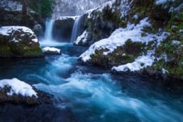 Landscape photography of a snowy Spirit Falls in the Columbia River Gorge, Washington