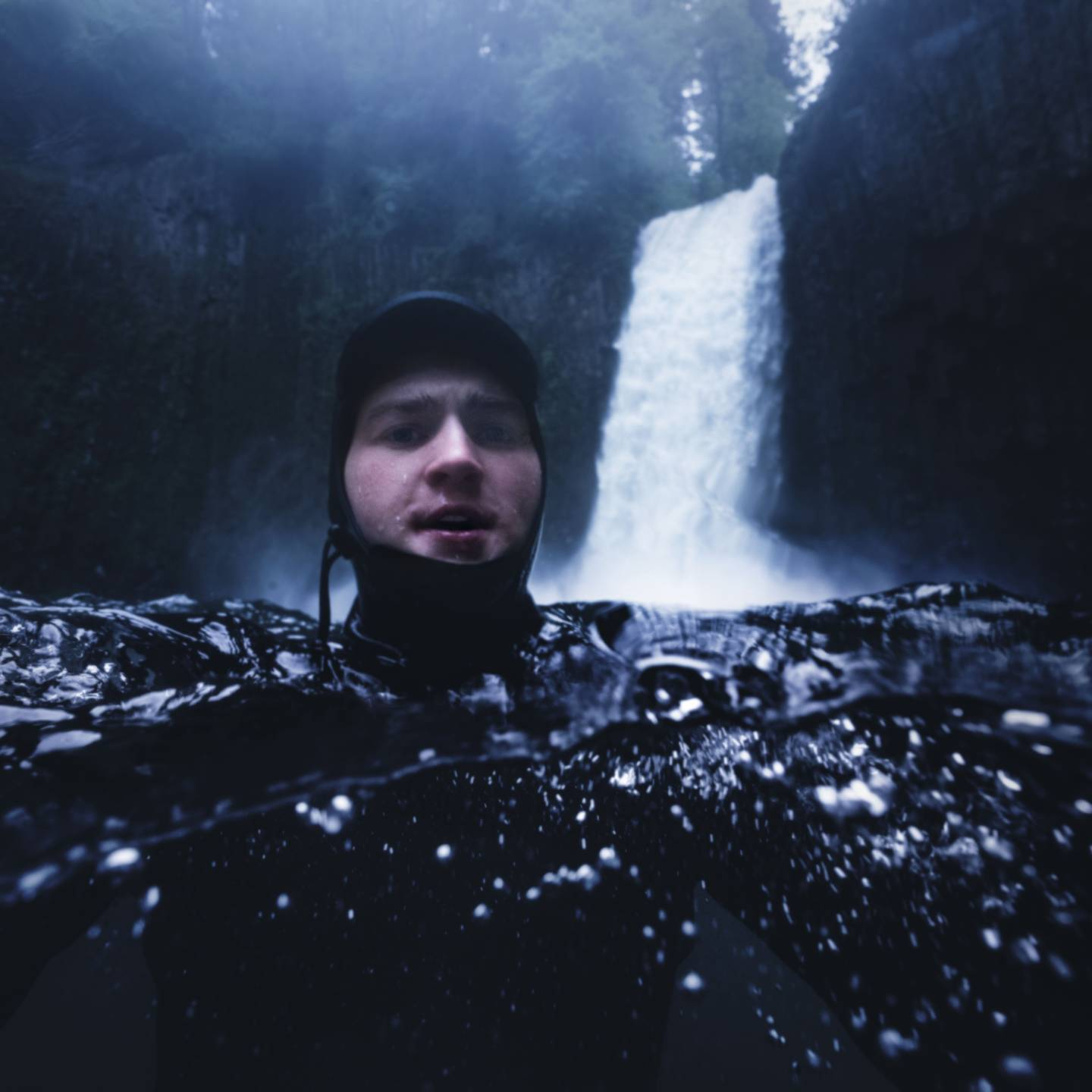 Underwater photography of Andrew Studer at Abiqua Falls in Oregon
