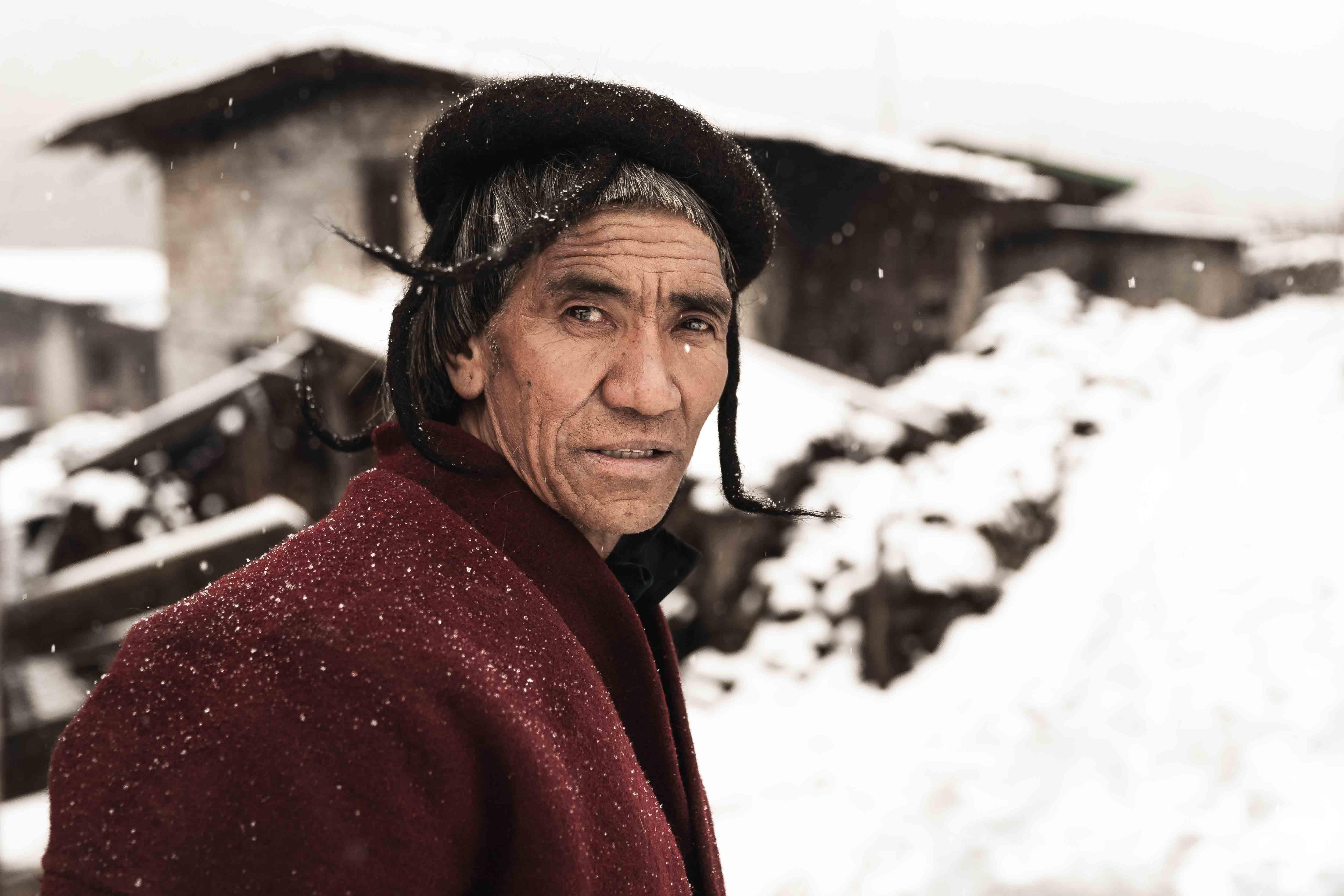 Bhutan portrait photography of the Brokpa Tribe in Merak during winter