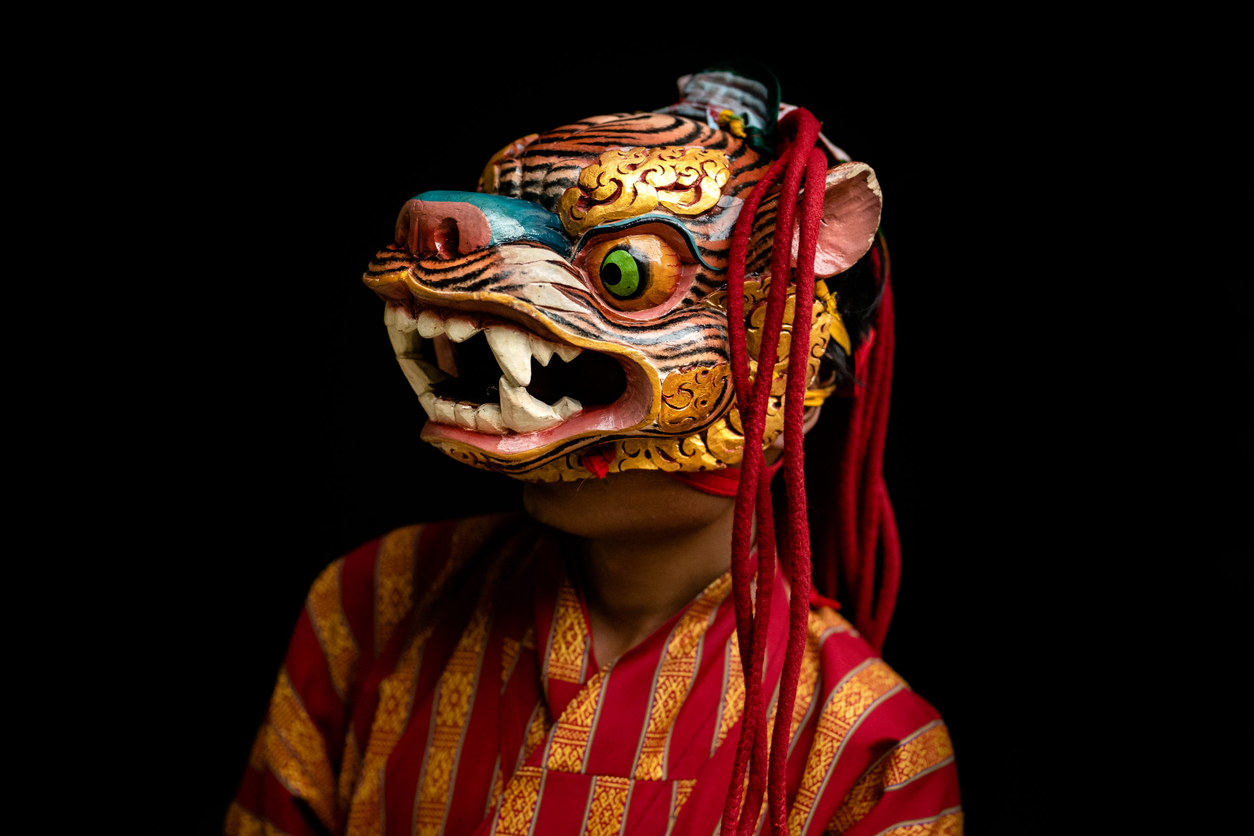 Traditional Bhutanese masked dancer Portrait