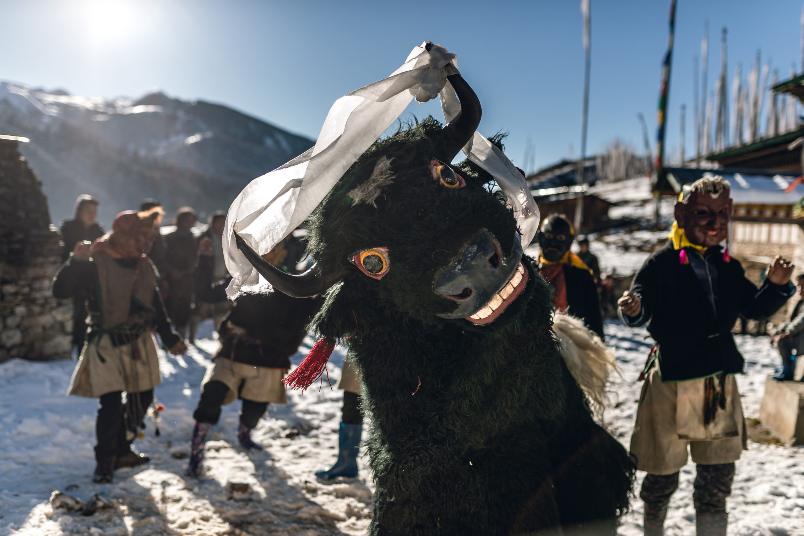 Photography of Bhutan's Traditional Masked Dancers Yak dance in Merak